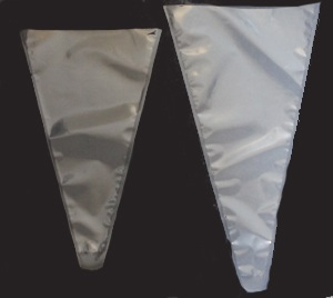 Clear plastic cone shaped bag