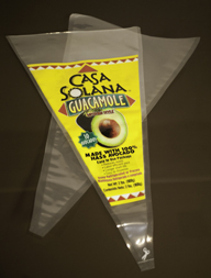 Clear Plastic Cone Shaped Guacamole Bag